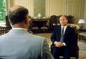 Imam Shah Karim al-Husayni Aga Khan IV being interviewed by Independent Television (ITV) of the UK on June 4, 1985