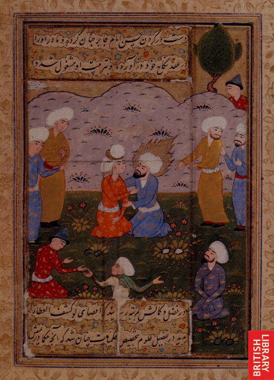 Portrait of Imam Ja'far al-Sadiq embracing his student. Source British Library.
