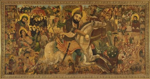 This painting commemorates the martyrdom of Imam Husayn, the grandson of the prophet Muhammad and the third imam, or leader, of the Shia Muslims. Source brooklynmuseum.org.