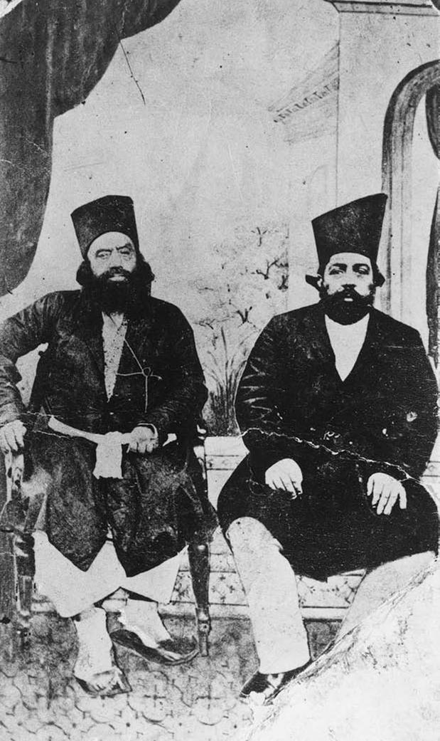 Imam Hasan Ali Shah Aga Khan I next to Imam Aqa 'Ali Shah Aga Khan II.