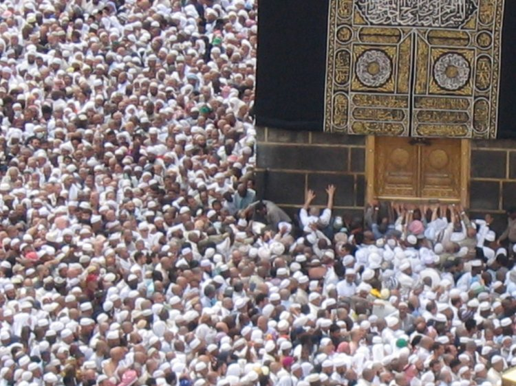 Hajj Pilgrims circumambulate the Ka'bah and seek to physically touch it.