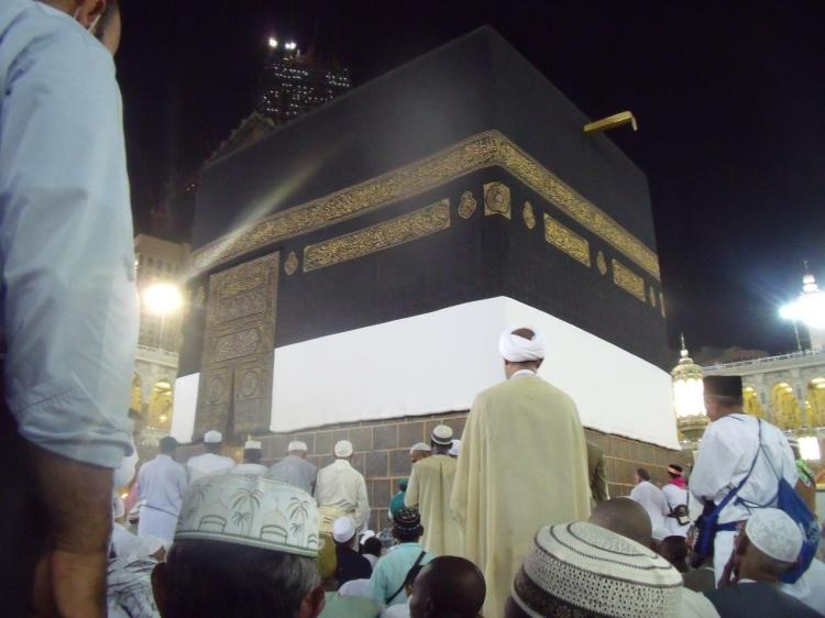 Hajj pilgrims offer prayers before the Ka'bah.