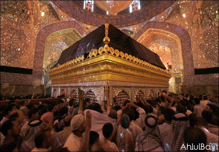 Pilgrims praying for the intercession of Imam 'Ali ibn Abi Talib at his Shrine in Najaf