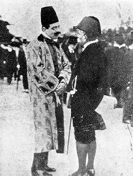 Imam Sultan Muhammad Shah with his partner Seyyed Ameer Ali in 1910