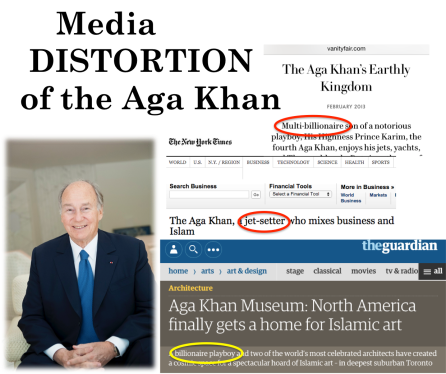 Examples of headlines from Vanity Fair, The Guardian, and The New York Times misrepresenting the Aga Khan