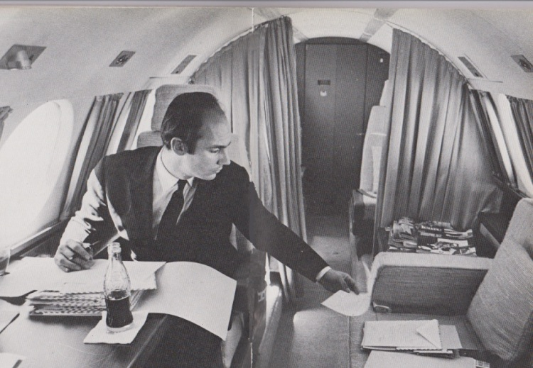 The Ismaili Imam at work on his airplane