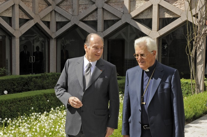 The Ismaili Imam, Aga Khan IV, meets His Eminence D. Jose Policarpo, the Cardinal Patriarch of Lisbon and Chancellor of the Catholic University of Portugal