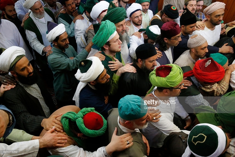 Naqshbandi sufis performing the bayah ritual. Urs of Mawlana Cheikh Muhammad Nazim Adil al-Haqqani in Lefke, Cyprus.