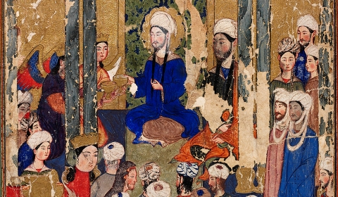 Figure 4: The Prophet Muhammad sits with the Abrahamic prophets in Jerusalem,  anonymous, Mi'rajnama (Book of Ascension), Tabriz, ca. 1317-1330. Topkapı Palace   Library, Istanbul, H. 2154, folio 62r.
